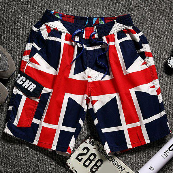 Union Jack Print Lace-Up Straight Leg Pocket Men's Shorts