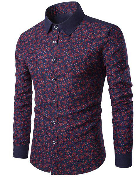 Trendy Turn-Down Collar Paisley Print Long Sleeve Men's Shirt