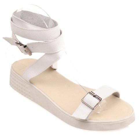 Stylish Double Buckle and Solid Color Design Women's Sandals - WHITE 39