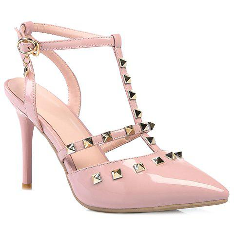 Stylish Pointed Toe and Rivet Design Women's Sandals - PINK 36
