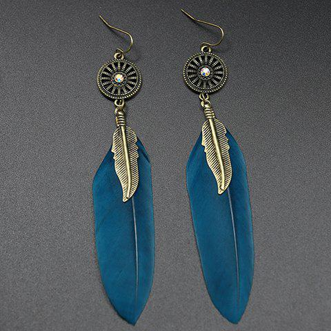 Faux Leaf Feather Drop Earrings - BLACKISH GREEN