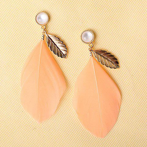 Pair of Faux Opal Leaf Feather Earrings - PINK