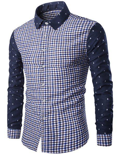 Trendy Turn-Down Collar Plaid Print Tiny Skulls Pattern  Long Sleeve Men's Shirt - BLUE XL