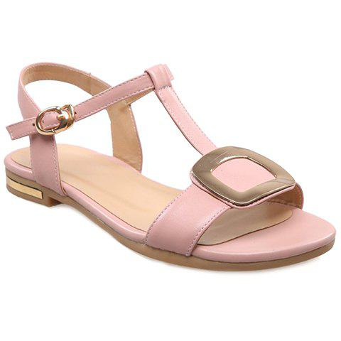 Casual Metal and T-Strap Design Women's Sandals - PINK 36