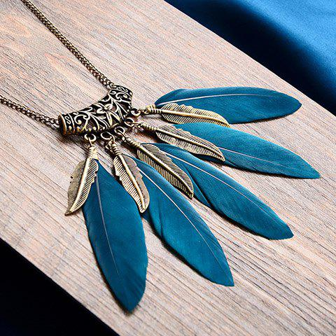 Leaf Feather Tassel Sweater Chain - BLACKISH GREEN