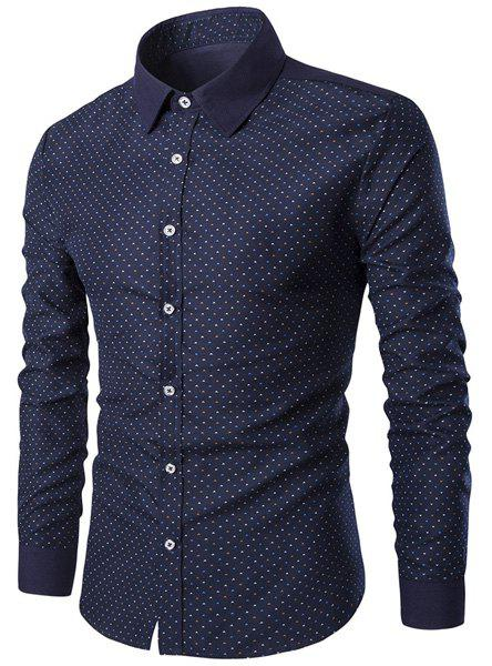 Trendy Modish Turn-Down Collar Tiny Spots Print  Long Sleeve Men's Shirt - CADETBLUE M