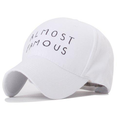 Trendy Letters Embroidery Solid Color Baseball Hat For Women - WHITE