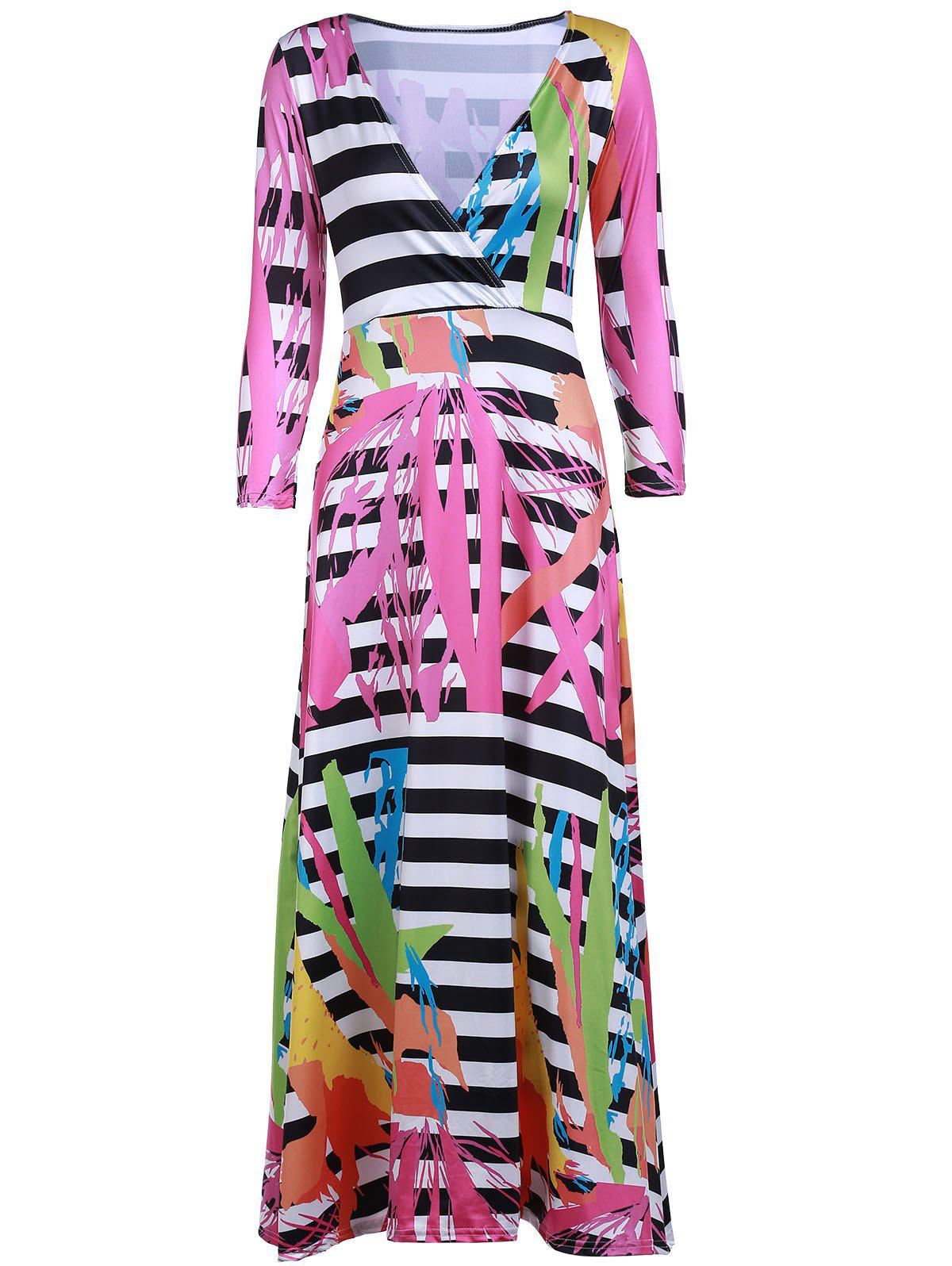 Sexy Women's Plunging Neck 3/4 Sleeve Printed Maxi Dress - ROSE S