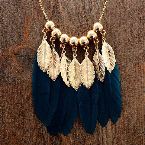Beads Faux Leaf Feather Tassel Sweater Chain - BLACKISH GREEN