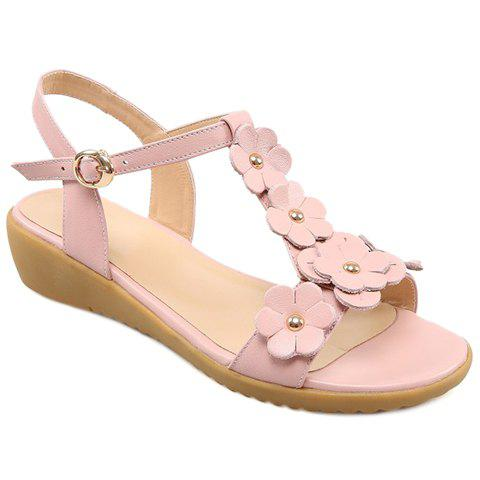 Sweet Floral and T-Strap Design Women's Sandals - PINK 38