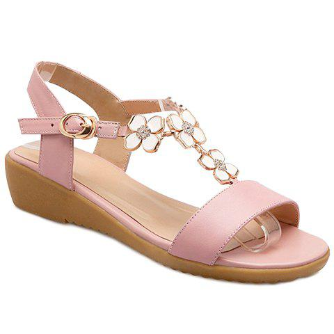 Sweet T-Strap and Floral Design Women's Sandals - PINK 38
