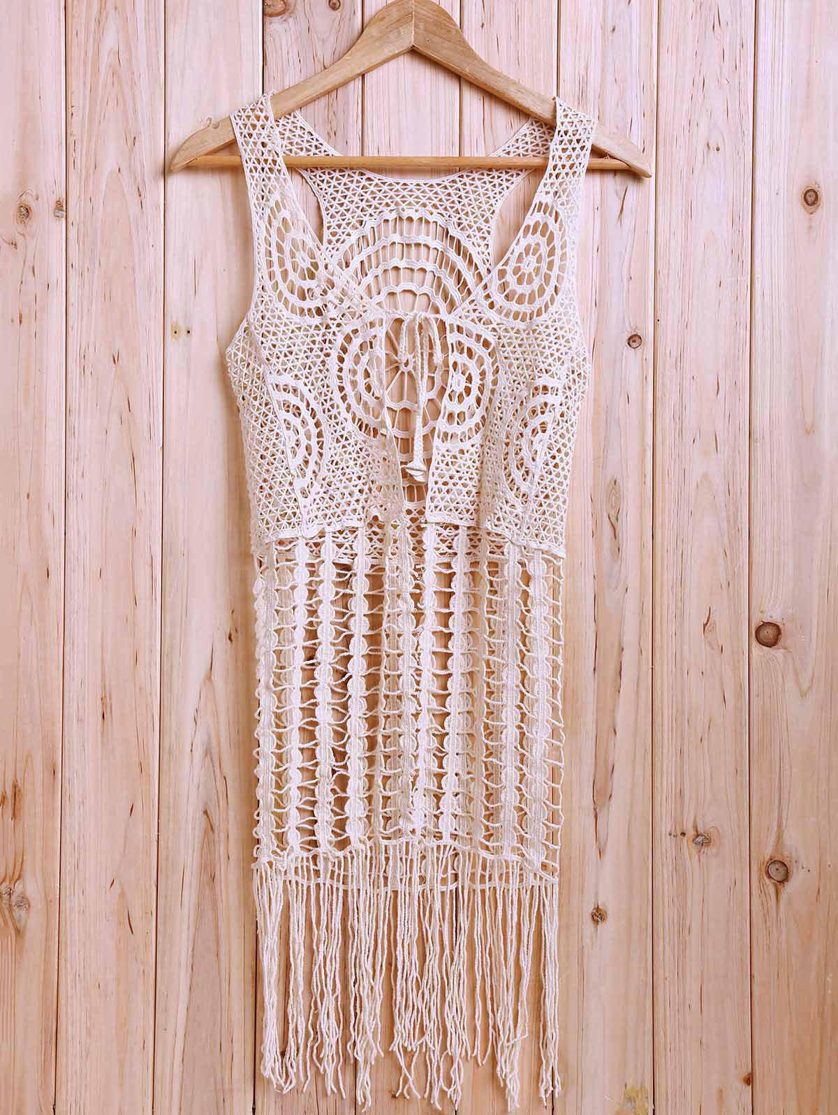 Sexy Plunging Neck Sleeveless Hollow Out Tassels Solid Color Women's Tank Top - NUDE ONE SIZE(FIT SIZE XS TO M)