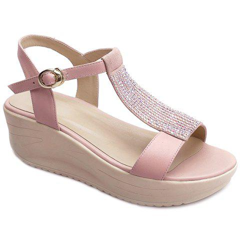 Leisure T-Strap and Platform Design Women's Sandals - PINK 36