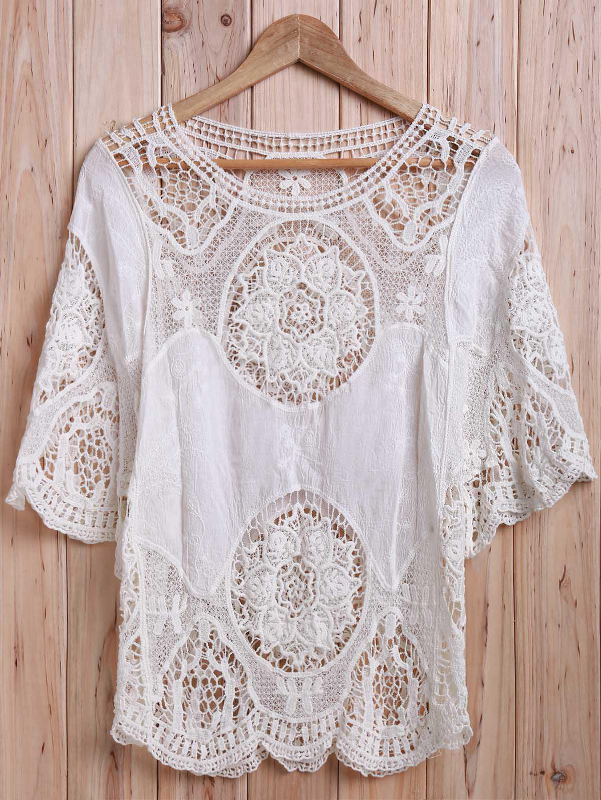 Sexy Scoop Neck Half Sleeve Hollow Out Women's Cover-Up - WHITE ONE SIZE(FIT SIZE XS TO M)