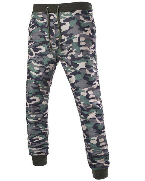 Trendy Beam Feet Camo Print Rib Splicing Drawstring Men's Pants - CAMOUFLAGE M