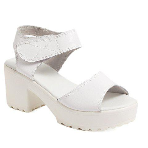 Casual Peep Toe and Chunky Heel Design Women's Sandals - WHITE 37