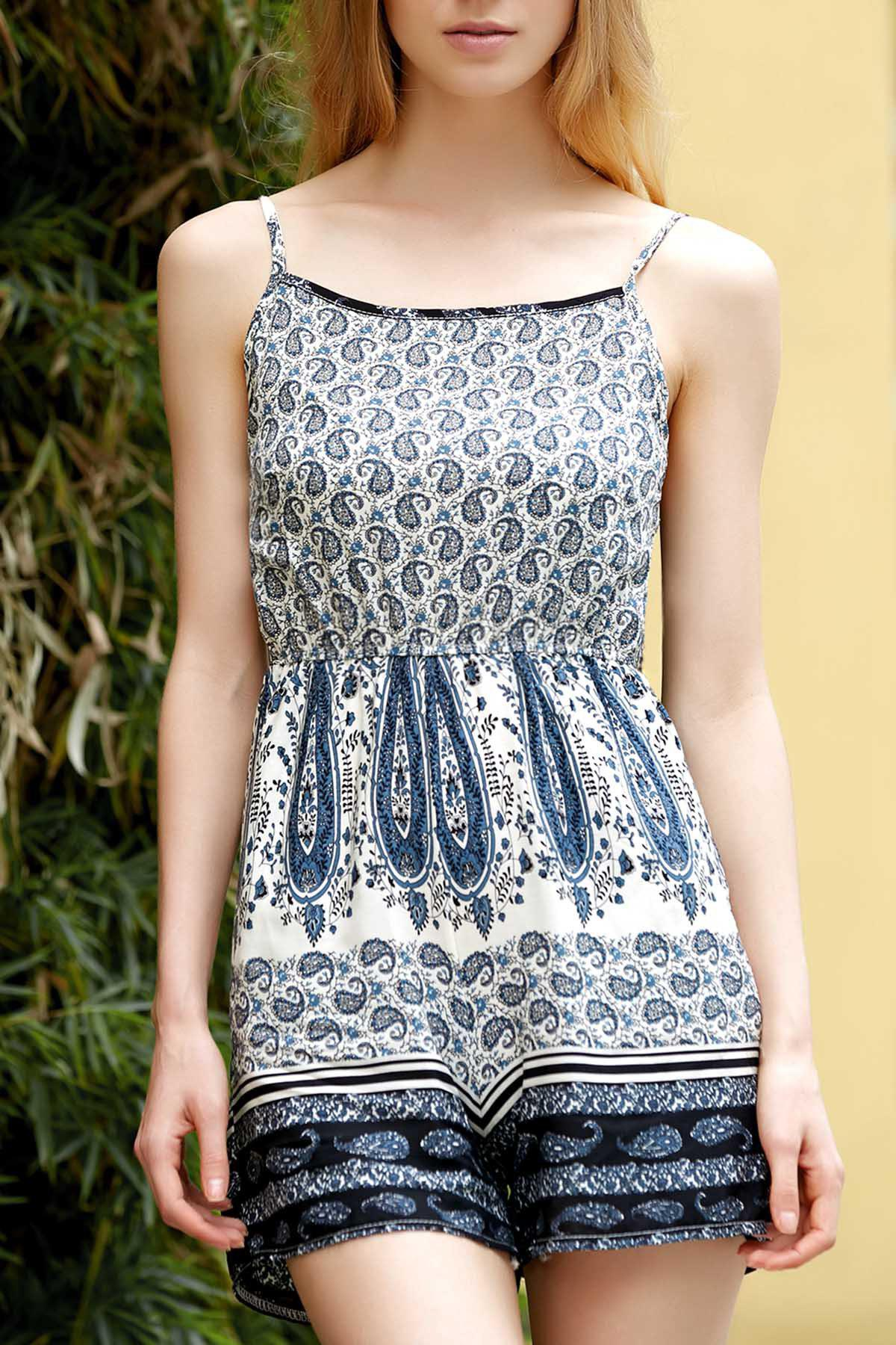 Stylish Spaghetti Straps Printed Backless Romper For Women - COLORMIX S
