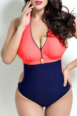 Stylish Halter Neck Plus Size Color Block Push Up Women's Swimwear - RED 5XL