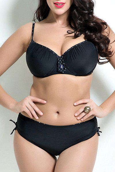Stylish Spaghetti Strap Plus Size Polka Dot Push Up Underwire Women's Bikini Set - BLACK 7XL