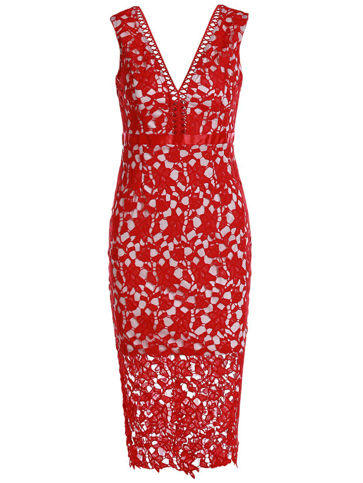 Alluring Plunging Neck Sleeveless Hollow Out Bodycon Women's Slit Dress - RED S
