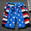 Star and Stripe Print Lace-Up Straight Leg Pocket Men's Shorts - DEEP BLUE 3XL