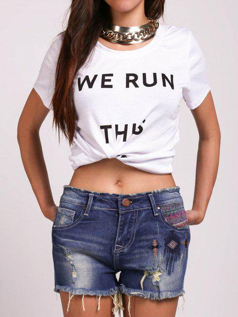 Casual Women's Round Neck Letter Pattern Tee - WHITE L