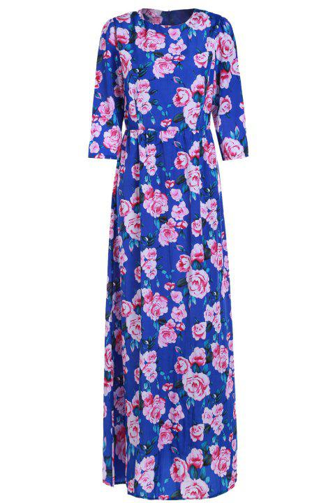 Floral Print  Maxi Dress For Women - BLUE M