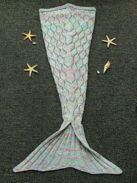 Endearing Argyle Cut Out Stretchy Knitted Mermaid Blanket For kids - COLORMIX