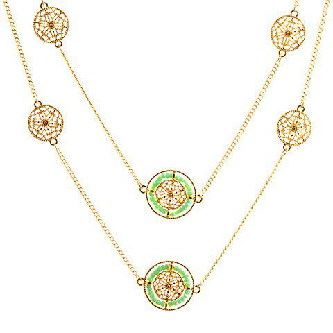 Multilayered Flower Hollow Out Sweater Chain - GREEN