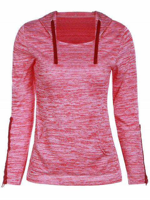 Fashionable Hollow Out Skinny Long Sleeve Women's Hoodie - RED XL