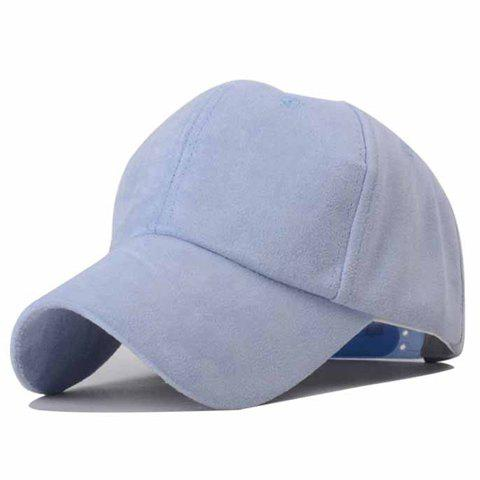 Trendy Solid Color Faux Suede Baseball Hat For Women - BLUE
