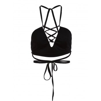 Trendy Spaghetti Strap Black Criss-Cross Hollow Out Women's Crop Top - BLACK XL