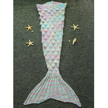 Endearing Multicolored Knitted Strtchy Mermaid Blanket - COLORMIX COLORMIX