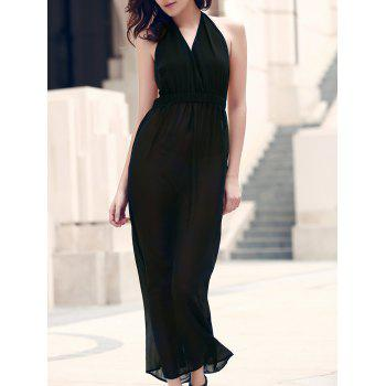 Elegant Halter Backless Cut Out Black Maxi Dress For Women