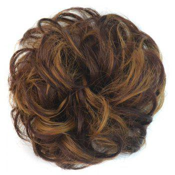 Stunning Brown Mixed Heat Resistant Fiber Shaggy Curly Bun Chignons - COLORMIX COLORMIX