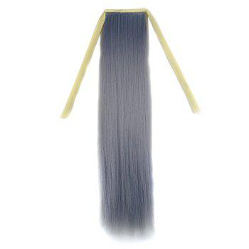 Stylish Silky Straight Long Capless Light Grandma Ash Synthetic Ponytail For Women