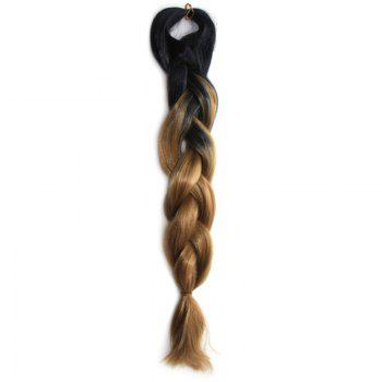 Outstanding Black Brown Ombre Long Heat Resistant Fiber Capless Braided Hair Extension For Women - BLACK AND GREEN BLACK/GREEN