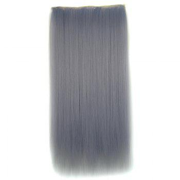 Attractive Light Grandma Ash Clip In Long Silky Straight Synthetic Hair Extension For Women