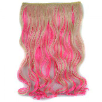 Stylish Light Blonde Mixed Pink Synthetic Shaggy Curly Long Clip In Women's Hair Extension - COLORMIX COLORMIX