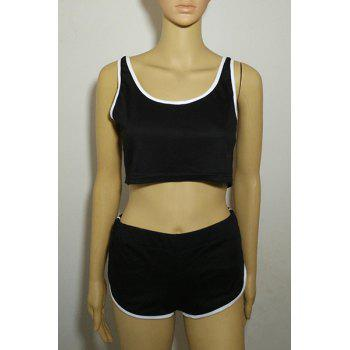Trendy Sleeveless Scoop Neck Crop Top + Hit Color Elastic Waist Shorts Women's Twinset - M M