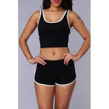 Trendy Sleeveless Scoop Neck Crop Top + Hit Color Elastic Waist Shorts Women's Twinset