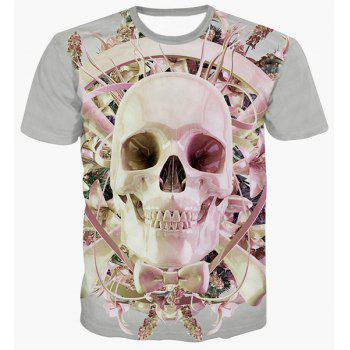 Fashion Skull Printing Pullover Round Collar T-Shirt For Men