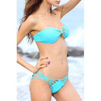 Hollow Out Strapless Bikini Set - BLUE L