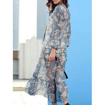 Trendy V-Neck Drawstring Chiffon Floral Print Women's Dress