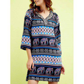 Chic 3/4 Sleeve V-Neck Elephant Print Beaded Women's Dress