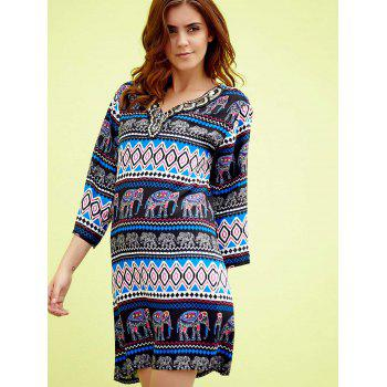 Chic 3/4 Sleeve V-Neck Elephant Print Beaded Women's Dress - BLUE/BLACK ONE SIZE(FIT SIZE XS TO M)