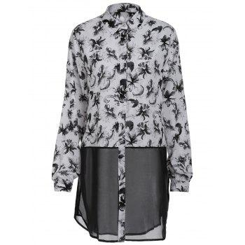 Chic Long Sleeve Shirt Collar Button Design Ink Painting Women's Shirt