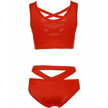 Trendy Pure Color Hollow Out Bikini For Women