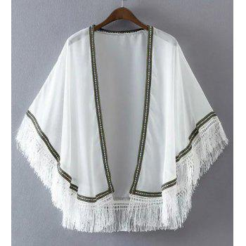 Trendy Collarless Batwing Sleeve Embroidery Tassels Women's Kimono - WHITE WHITE