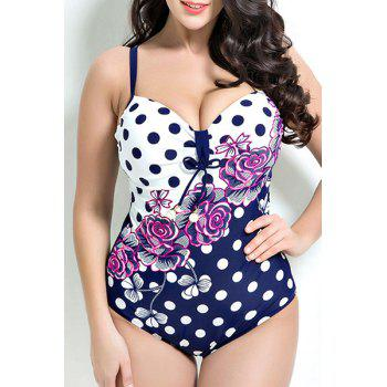 Floral Printed Polka Dot Push Up One Piece Swimwear